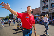 30 JUNE 2012 - PRESCOTT, AZ:    RON GOULD, an Arizona legislator and Republican congressional candidate, works the crowd at the Prescott Frontier Days Rodeo Parade. Prescott is solidly Republican and the parade is popular with Republican political candidates. Gould is in a primary battle with incumbent Dr. Paul Gosar. The parade is marking its 125th year. It is one of the largest 4th of July Parades in Arizona. Prescott, about 100 miles north of Phoenix, was the first territorial capital of Arizona.  PHOTO BY JACK KURTZ