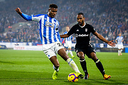 Steve Mounie of Huddersfield Town takes on Denis Odoi of Fulham - Mandatory by-line: Robbie Stephenson/JMP - 05/11/2018 - FOOTBALL - John Smith's Stadium - Huddersfield, England - Huddersfield Town v Fulham - Premier League