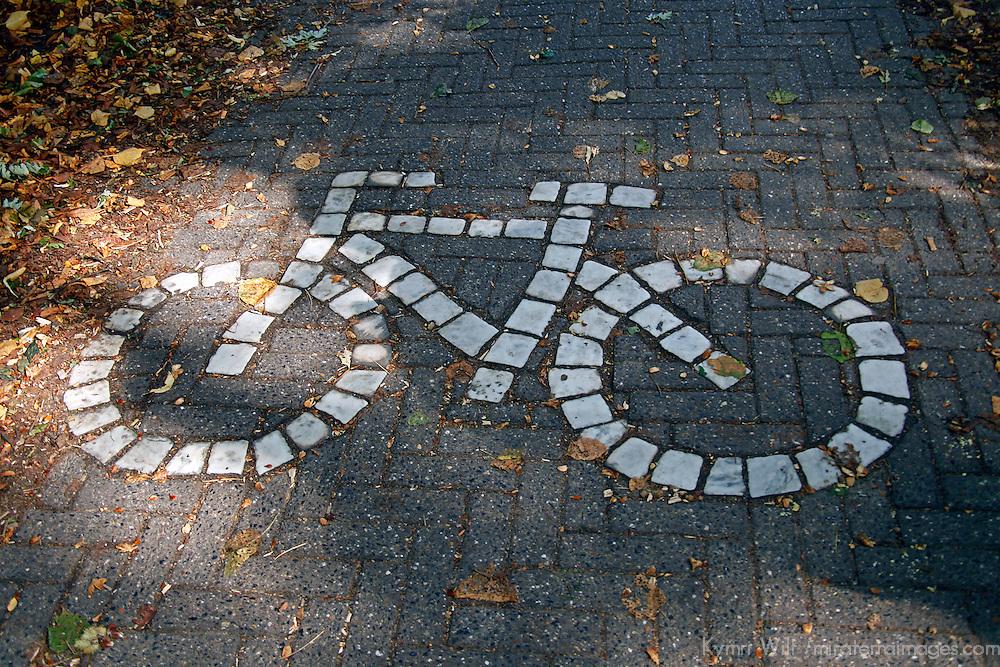 Europe, Belgium, Brugges. Bicycle Path of Brugges.