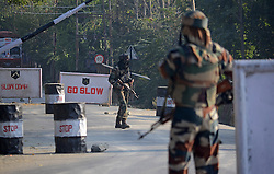October 3, 2016 - India - An Indian soldier looks towards the army camp after suspected militants attacked it in north Kashmir's Baramulla. At least one Indian soldier was killed and another wounded in the attack, later suspected militants managed to escape from the spot of encounter, Kashmir police said. (Credit Image: © Faisal Khan/Pacific Press via ZUMA Wire)