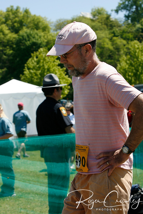 Roger Crowley/Times Argus.Lowell VanDerlip of Montpelier finishes the last leg of the relay in the 20th Annual KeyBank Vermont City Marathon Sunday in Burlington.