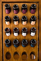 Bottles of wine on a rack in the tasting room of Bodega Melipal in the Luján de Cuyo area of Mendoza, Argentina.