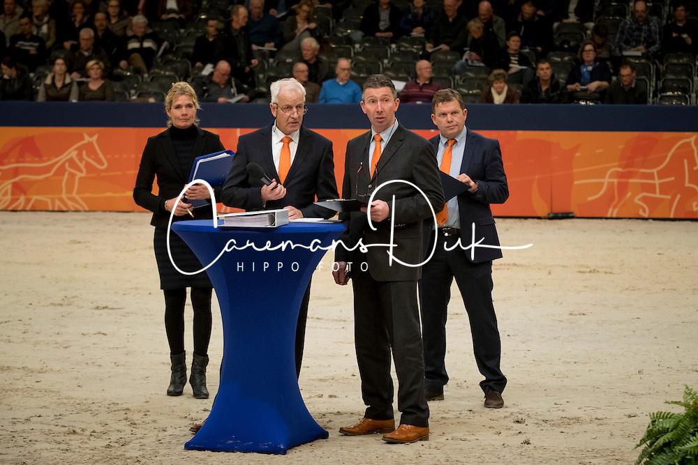 Loeffen Cor, Klompmaker Hester, Van Der Schans Wout Jan, Versteeg Wim, NED<br /> KWPN Hengstenkeuring 2017<br /> © Dirk Caremans<br /> 01/02/17