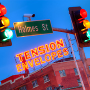 Tension Envelope sign viewed from the corner of 18th and Holmes, Kansas City, Missouri.