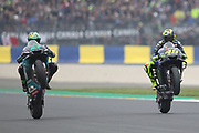 #21 Franco Marbidelli, Italian: Petronas Yamaha SRT and #46 Valentino Rossi, Italian: Movistar Yamaha MotoGP during racing on the Bugatti Circuit at Le Mans, Le Mans, France on 19 May 2019.