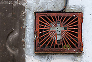 San Miguel de Allende, Mexico, 2006-A religious icon covers an electric meter