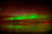 Northern lights or aurora borealis on Lake Winnipeg<br />