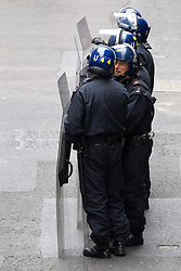 © Licensed to London News Pictures . 11/06/2013 . London , UK . Police surround a former police station on 40 Beak Street , Soho this morning (11th June) . The site has been occupied by organisers of today's Stop G8 anti capitalist protests . Demonstrations in London today (Tuesday 11th June 2013) ahead of Britain hosting the 39th G8 summit on 17th/18th June at the Lough Erne Resort , County Fermanagh , Northern Ireland , next week . Photo credit : Joel Goodman/LNP