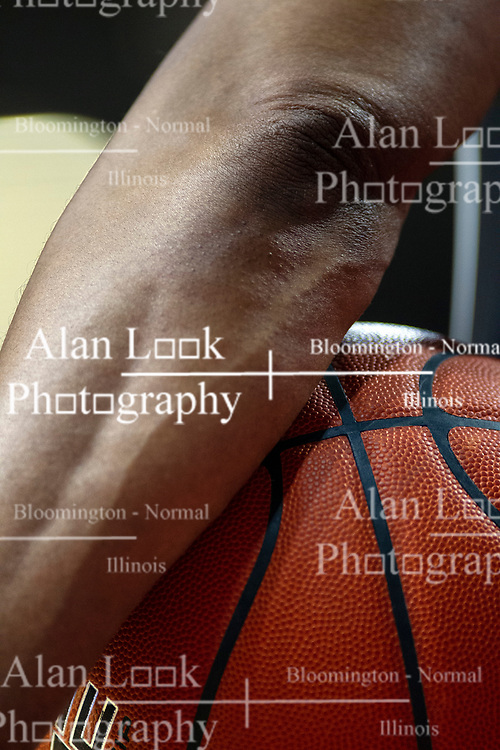 NORMAL, IL - January 19: Referee holds the ball at a time out during a college basketball game between the ISU Redbirds and the Loyola University Chicago Ramblers on January 19 2020 at Redbird Arena in Normal, IL. (Photo by Alan Look)