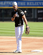 CHICAGO - MAY 23:  Jose Abreu #79 of the Chicago White Sox flips a baseball during batting practice prior to the game against the Baltimore Orioles on May 23, 2018 at Guaranteed Rate Field in Chicago, Illinois.  (Photo by Ron Vesely)  Subject: Jose Abreu