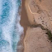 Aerial of Seaside Beach, Monterey Bay, California.
