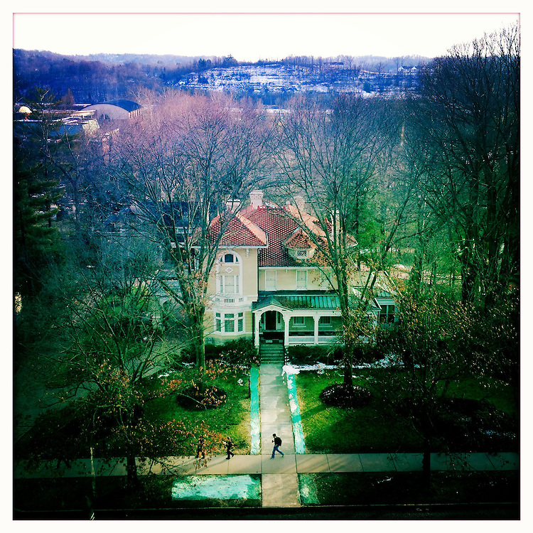 A view of President Rodrick McDavis's house from the 7th floor stacks in Alden Library in February 2013.