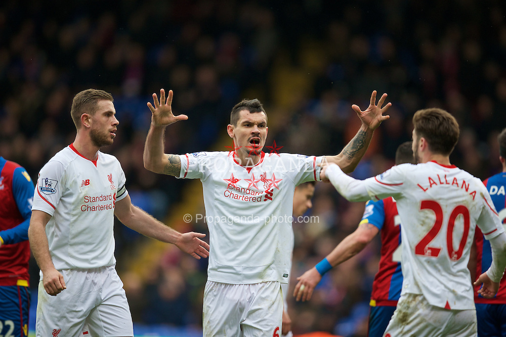 LONDON, ENGLAND - Sunday, March 6, 2016: Liverpool's Dejan Lovren celebrates as a late injury time penalty is awarded against Crystal Palace during the Premier League match at Selhurst Park. (Pic by David Rawcliffe/Propaganda)