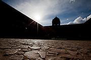 The courtyard of the Qorikancha in Cusco Peru