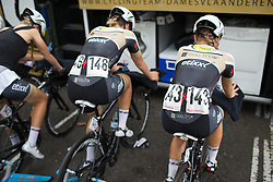 Jessy Druyts (BEL) of Topsport Vlaanderen Etixx Cycling Team warms up for the Prudential RideLondon Classique, a 66 km road race in London on July 30, 2016 in the United Kingdom.