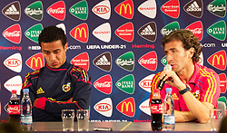 HERNING, DENMARK - Sunday, June 12, 2011: Spain's Ander Herrera (Zaragoza) and head coach Luis Milla at a post-match press conference following the 1-1 draw with England during the UEFA Under-21 Championship Denmark 2011 Group B match at the Herning Stadium. (Photo by Vegard Grott/Propaganda)