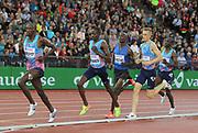 Timothy Cheruiyot (KEN) defeats Elijah Manangoi (KEN), Charles Simotwo (KEN), Filip Ingebrigtsen (NOR) and Bethwel Birgen (KEN) to win the 1,500m in 3:33.93 during the Weltklasse Zurich in an IAAF Diamond League meeting at Letzigrund Stadium in Zurich, Switzerland on Thursday, August 24, 2017.   (Jiro Mochizuki/Image of Sport)