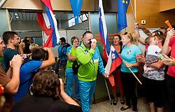 Darko Duric, Polona Sladic and Francek Gorazd Tirsek of Team Slovenia at arrival to Airport Joze Pucnik after the London 2012 Paralympic Games on September 10, 2012, in Brnik, Slovenia. (Photo by Vid Ponikvar / Sportida.com)