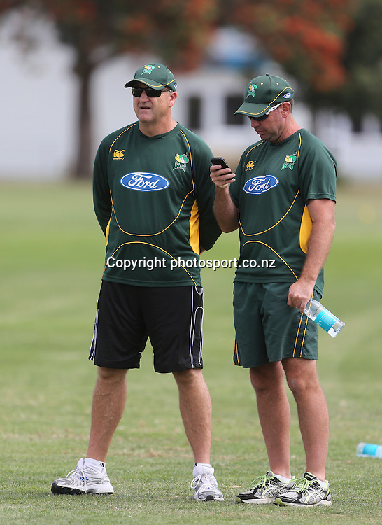 Selector, Mark Greatbatch and manager Lance Hamilton look on as Ross Taylor, former Black Caps captain rejoins the Central Districts Stags at Nelson Park, Napier, New Zealand. Wednesday, 23 January, 2013. Photo: John Cowpland / photosport.co.nz