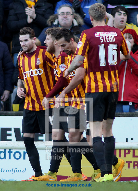 Mark Yates (L) of Bradford City celebrates scoring the 4th goal of the game against  Dartford FC during the The FA Cup match at the Coral Windows Stadium, Bradford<br /> Picture by Stephen Gaunt/Focus Images Ltd +447904 833202<br /> 07/12/2014