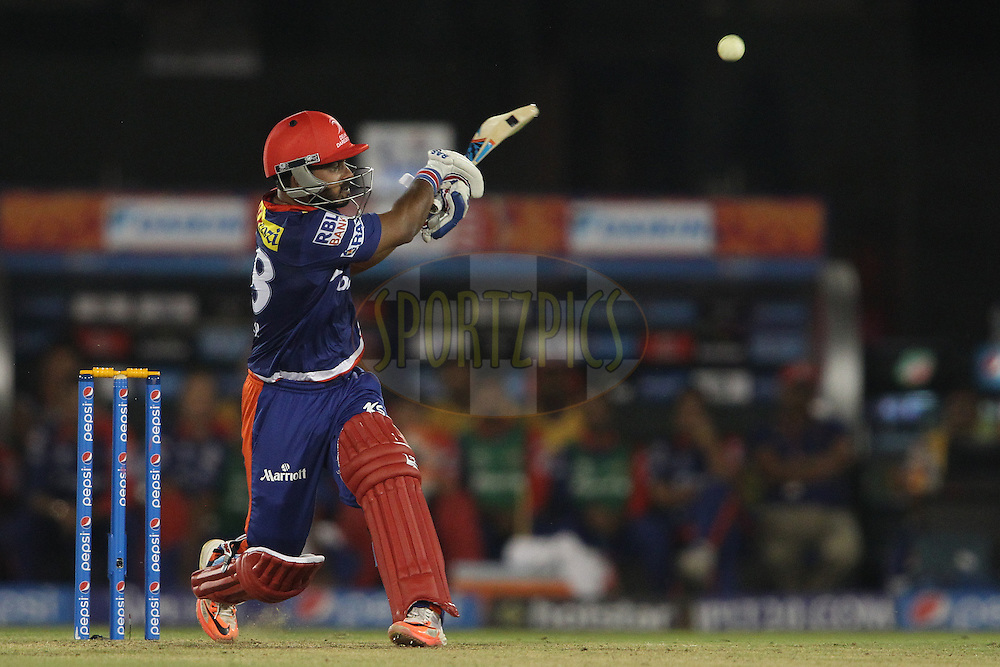 Kedar Jadhav of the Delhi Daredevils pulls a delivery in the last over during match 45 of the Pepsi IPL 2015 (Indian Premier League) between The Delhi Daredevils and the Sunrisers Hyderabad held at the Shaheed Veer Narayan Singh International Cricket Stadium in Raipur, India on the 9th May 2015.<br /> <br /> Photo by:  Shaun Roy / SPORTZPICS / IPL