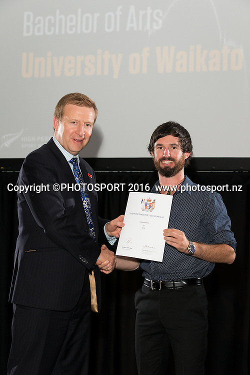 Hon. Jonathan Coleman presents certificate to Rowing Caleb Shepherd at the High Performance Sport NZ Waikato ceremony for the Prime Minister's Scholarship Awards, at Sir Don Rowlands Centre, Lake Karapiro, Cambridge, New Zealand, 20 April 2016. Copyright Photo: Stephen Barker / www.photosport.nz