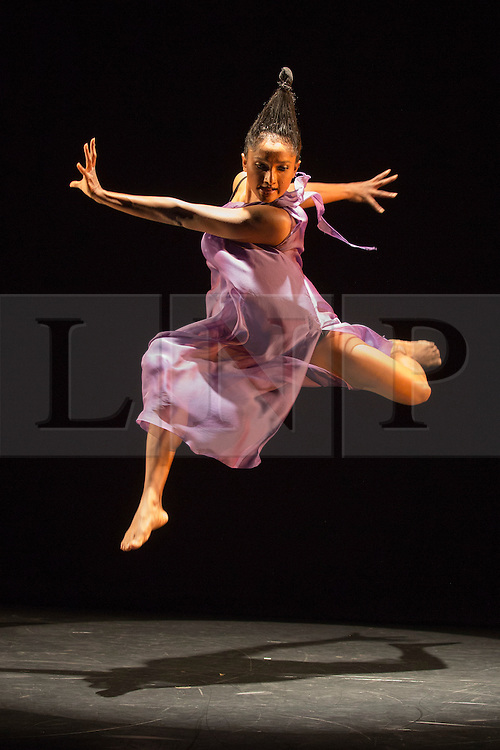 © Licensed to London News Pictures. 21/10/2015. London, UK. Dancer Hemabharathy Palani performs her solo Trikonanga, which sees her pull apart the classical dance form Bharatanatyam. Dance Umbrella presents Out of India: Modern Moves at the Pit Theatre, Barbican Centre, from 21 to 24 October 2015. Photo credit: Bettina Strenske/LNP