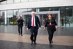 © Licensed to London News Pictures . 23/09/2018. Liverpool, UK. JEREMY CORBYN leaves the Museum of Liverpool after recording an interview for the Marr Show . The first day of the 2018 Labour Party Conference at the Arena and Convention Centre in Liverpool . Photo credit: Joel Goodman/LNP
