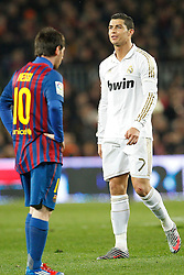 25.01.2012, Stadion Camp Nou, Barcelona, ESP, Copa del Rey, FC Barcelona vs Real Madrid, im Bild Barcelona's Lionel and Real Madrid's Cristiano Ronaldo // during the football match of spanish Copy del Rey, between FC Barcelona and Real Madrid at Camp Nou stadium, Barcelona, Spain on 2012/01/25. EXPA Pictures © 2012, PhotoCredit: EXPA/ Alterphotos/ Cesar Cebolla..***** ATTENTION - OUT OF ESP and SUI *****
