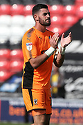 AFC Wimbledon goalkeeper Tom King (1) applauds the travelling fans during the EFL Sky Bet League 1 match between Fleetwood Town and AFC Wimbledon at the Highbury Stadium, Fleetwood, England on 4 August 2018. Picture by Craig Galloway.