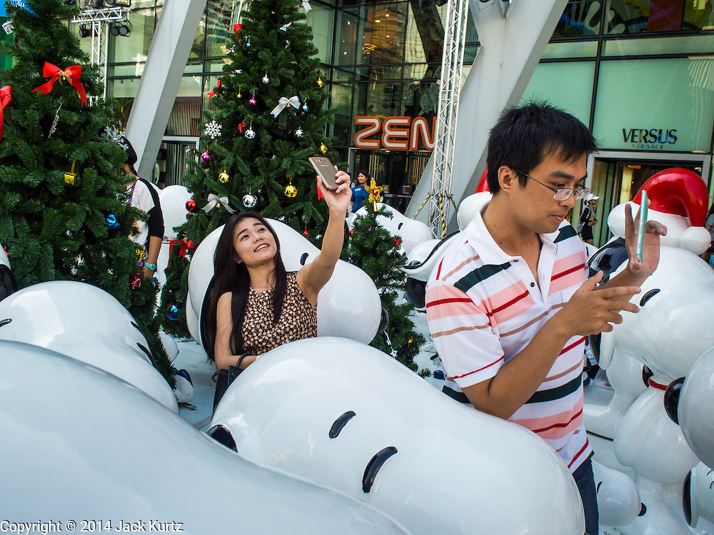 10 DECEMBER 2014 - BANGKOK, THAILAND: Christmas decorations at Central World, a large mall in Bangkok. Thailand is overwhelmingly Buddhist. Christmas is not a legal holiday in Thailand, but Christmas has become an important commercial holiday in Thailand, especially in Bangkok and communities with a large expatriate population.        PHOTO BY JACK KURTZ