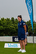 White Fern, Kate Ebrahim talks to the teams at the Prize giving after the Gillette Venus Cup, Bert Sutcliffe Oval, Lincoln, New Zealand, 5th December 2018.Copyright photo: John Davidson / www.photosport.nz