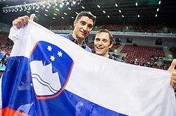 17-10-2015 BUL: Volleyball European Championship Slovenie - Italie, Sofia<br /> Semifinal in Arena Armeec Sofia / Andrea Giani, head coach of Slovenia and Gregor Humerca of OZS celebrate<br /> Photo: Vid Ponikvar / RHF<br /> +++USE NETHERLANDS ONLY+++