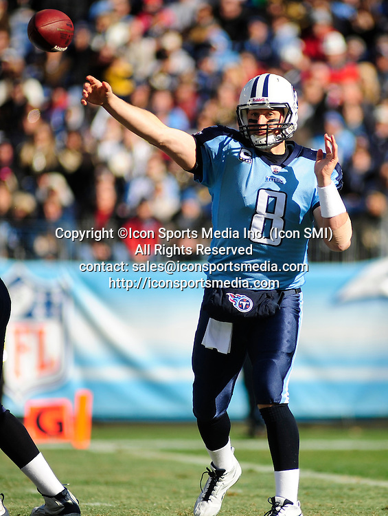 Dec. 11, 2011 - Nashville, Tennessee, United States of America - Tennessee Titans quarterback Matt Hasselbeck (8) throws downfield against the New Orleans Saints in NFL action at LP Field in Nashville. The Saints beat the Titans 22-17