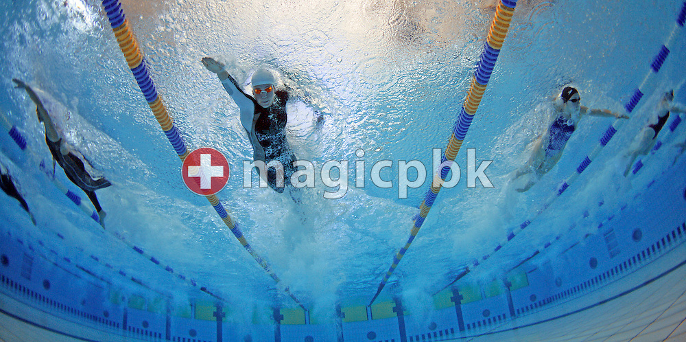 Stephanie EISENRING (C) of Switzerland competes in the women's 50m freestyle heats on day four in the Les Vernets indoor pool at the Swimming Swiss Championships in Geneva, Switzerland, Sunday, May 21, 2006. (Photo by Patrick B. Kraemer / MAGICPBK)