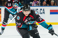 KELOWNA, CANADA - OCTOBER 3: Leif Mattson #28 of the Kelowna Rockets tries to block a pass against the Vancouver Giants on October 3, 2018 at Prospera Place in Kelowna, British Columbia, Canada.  (Photo by Marissa Baecker/Shoot the Breeze)  *** Local Caption ***