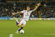 Milton Keynes Dons midfielder Carl Baker shapes to shoot  during the Sky Bet Championship match between Burnley and Milton Keynes Dons at Turf Moor, Burnley, England on 15 September 2015. Photo by Simon Davies.