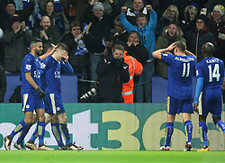 Jamie Vardy of Leicester City (2nd L) celebrates scoring his sides first goal - Mandatory byline: Jack Phillips/JMP - 02/02/2016 - FOOTBALL - King Power Stadium - Leicester, England - Leicester City v Liverpool - Barclays Premier League