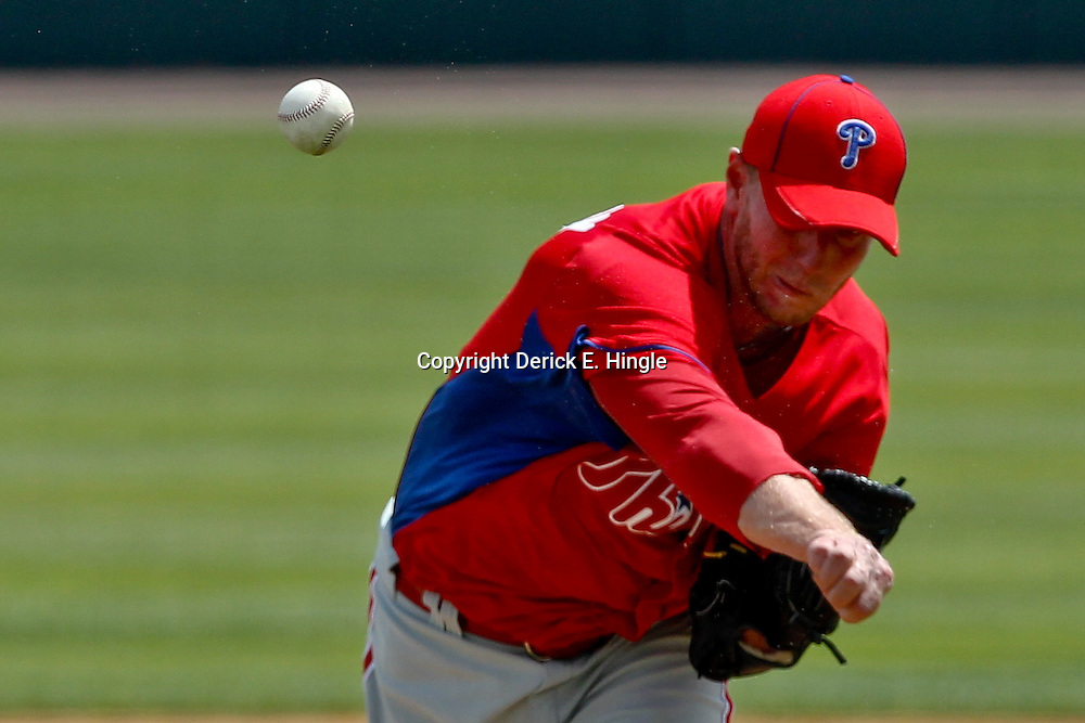 March 20, 2012; Sarasota, FL, USA; A detailed view of a ball as it is thrown by  Philadelphia Phillies starting pitcher Roy Halladay (34) against the Baltimore Orioles during a spring training game at Ed Smith Stadium.  Mandatory Credit: Derick E. Hingle-US PRESSWIRE