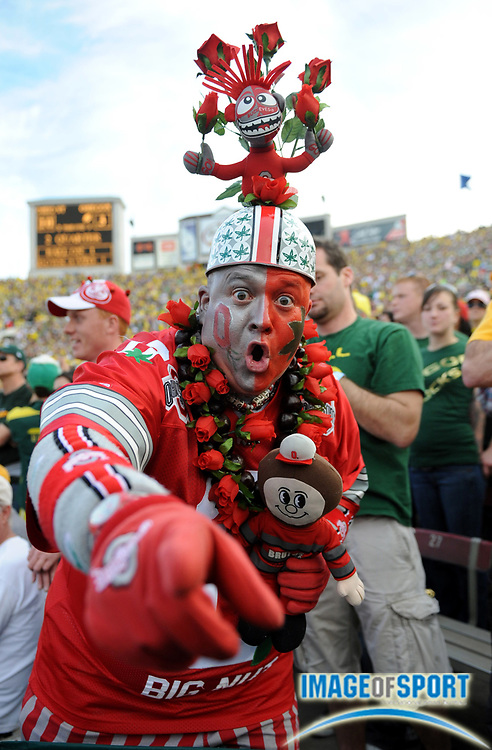 Jan 1, 2010; Pasadena, CA, USA; Ohio State Buckeyes fan Jon Peters aka Big Nut reacts during the 2010 Rose Bowl against the Oregon Ducks at the Rose Bowl. Ohio State defeated Oregon 26-17.
