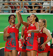 11th April 2018, Gold Coast Convention and Exhibition Centre, Gold Coast, Australia; Commonwealth Games day 7; Netball, England versus New Zealand; England players wave to the crowd after they defeated New Zealand