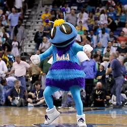 April 19, 2012; New Orleans, LA, USA; New Orleans Hornets mascot Hugo dances during overtime against the Houston Rockets at the New Orleans Arena. The Hornets defeated the Rockets 105-99.   Mandatory Credit: Derick E. Hingle-US PRESSWIRE