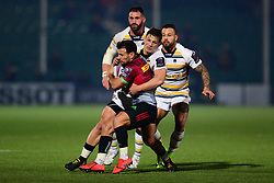 Ryan Mills of Worcester Warriors tackles Marcus Smth of Harlequins - Mandatory by-line: Dougie Allward/JMP - 30/03/2019 - RUGBY - Sixways Stadium - Worcester, England - Worcester Warriors v Harlequins - European Challenge Cup quarter-final