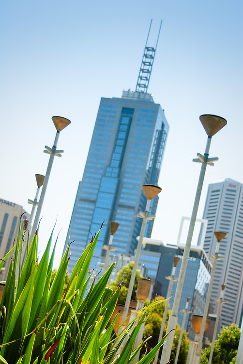 Melbourne skyscraper and Federation Bells seen from Birrarung Marr