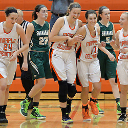 Staff photos by Tom Kelly IV<br /> Marple Newtown players celebrate their win in overtime following the Bishop Shanahan at Marple Newtown girls basketball game, during the 7th annual holiday tournament on Saturday, December 27, 2014.