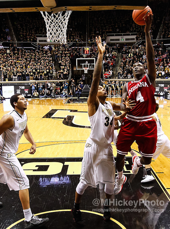 WEST LAFAYETTE, IN - JANUARY 30: Victor Oladipo #4 of the Indiana Hoosiers shoots the ball against Jacob Lawson #34 of the Purdue Boilermakers at Mackey Arena on January 30, 2013 in West Lafayette, Indiana. Indiana defeated Purdue 97-60. (Photo by Michael Hickey/Getty Images) *** Local Caption *** Victor Oladipo; Jacob Lawson