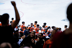 Philadelphia Flyers celebrating goal during NHL game between teams Chicago Blackhawks and Philadelphia Flyers at NHL Global Series in Prague, O2 arena on 4th of October 2019, Prague, Czech Republic. Photo by Grega Valancic / Sportida