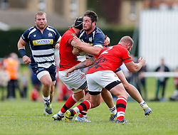 Bristol Rugby Hooker Marc Jones (capt) is tackled by London Welsh Number 8 Kieran Murphy and Hooker Koree Britton - Mandatory byline: Rogan Thomson/JMP - 07966 386802 - 13/09/2015 - RUGBY UNION - Old Deer Park - Richmond, London, England - London Welsh v Bristol Rugby - Greene King IPA Championship.