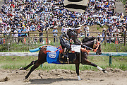 Minami-Soma, Fukushima prefecture, July 25 2015 - Kazuhiko ITO during the Sunday race of Nomaoi, a festival of samurai riding horses.<br /> The Soma nomaoi is said to be a 1000-year-old traditional festival. It was held in 2011, a few months after the nuclear disaster, but only a few local horses were available.