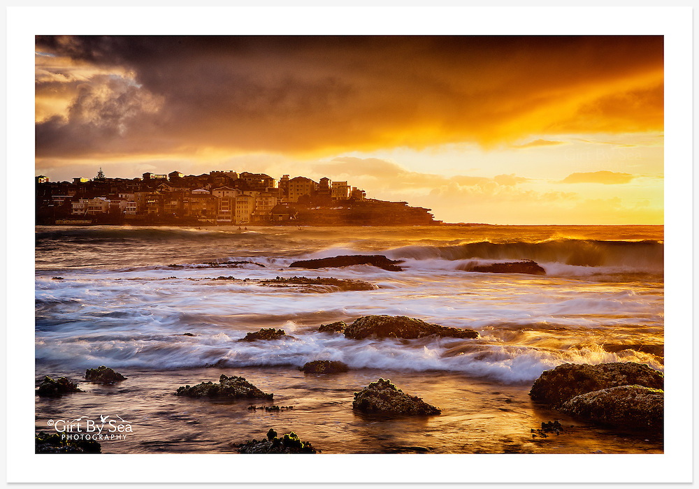 Superb golden light, early on a Bondi summer morning [Bondi, NSW]<br /> <br /> To purchase please email orders@girtbyseaphotography.com quoting the image number PB307520, and your preferred print size. You will receive a quick reply recommending print media options to best suit your chosen image, plus an obligation-free quotation. Current standard size prices are published on the Pricing page.